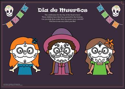Dia de Muertos 2017 Activity Page-colored background
