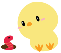 Chick with worm-01